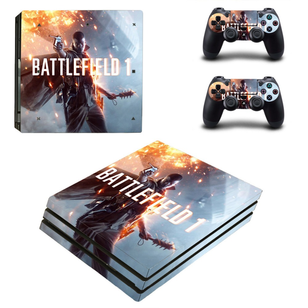 Hot PS4 PRO Skin Stickers Play station 4 Pro Controller Console Game Cover Decals Gamepad Protector Sticker Skins BATTLEFIELD 1