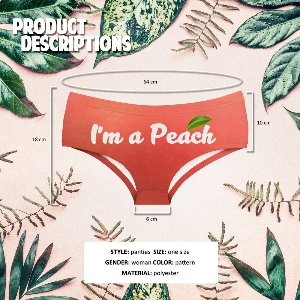 LEIMOLIS i am a peach Letter funny print sexy hot panties female kawaii Lovely underwear push up briefs women lingerie thongs in women 39 s panties from Underwear amp Sleepwears