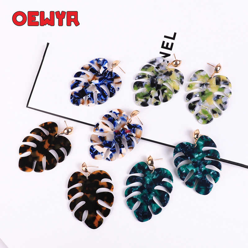OEWYR 2019 Korean fashion bohemian women earrings Simple Colorful Statement Big tree leaves Acrylic earring Jewelry dropshipping