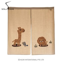 SewCrane Honeycomb Fabric Curtain Embroidery Design Lion Giraffe Home Restaurant Door Curtain Noren Doorway Room Divider