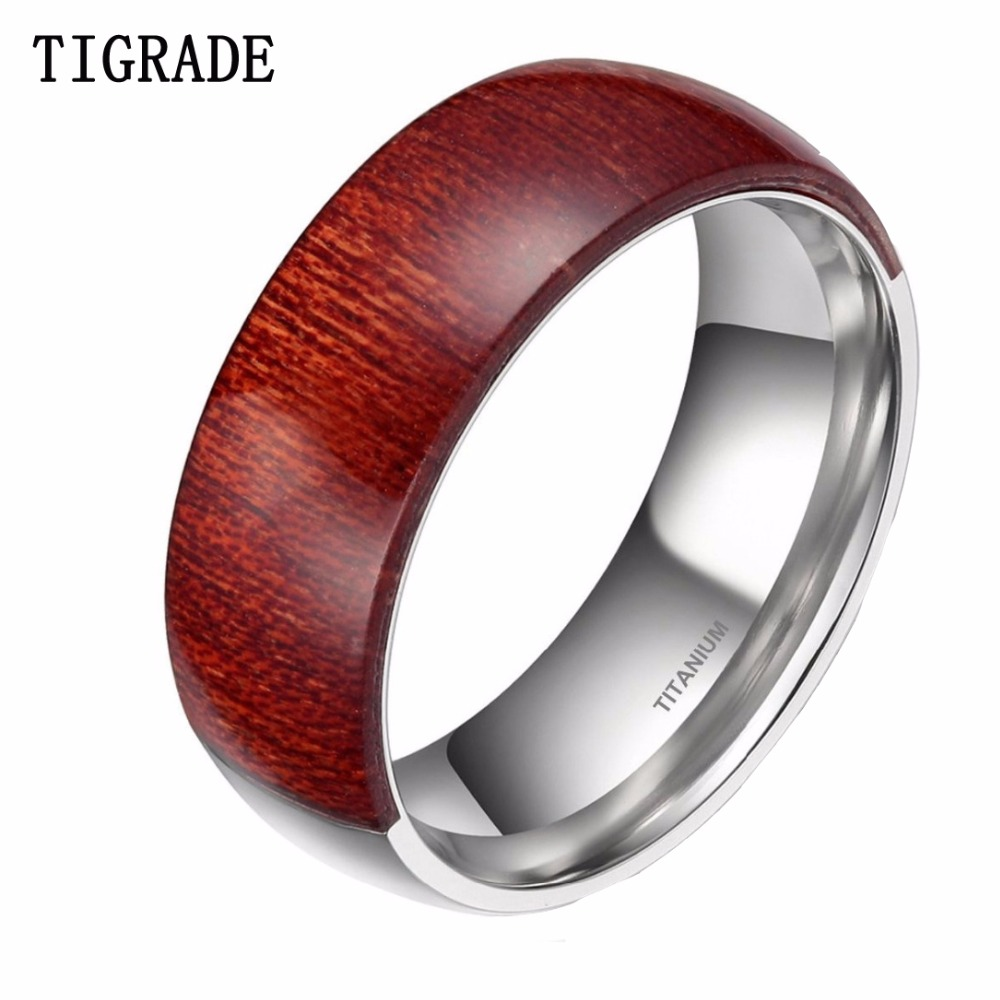 Tigrade 8mm Half Wood Inlay Half Titianium Ring Men Wedding Band Fashion Jewelry  Engagement Rings For