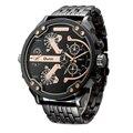 Exagerada Grande Grande Relógios Homens Marca De Luxo Exclusivo Designer Relógio de Quartzo Masculino Pesado Cheio de Aço e Pulseira de Couro Relógio de Pulso
