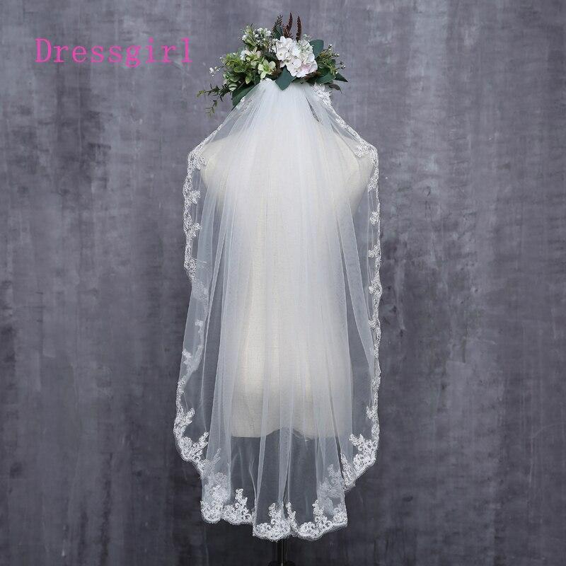 2016 New New Arrival Diamond Veil Short Design Single Layer Wedding Veil Bridal Dress Middle Length With Comb