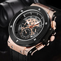 MEGIR Auto Date Business Watch Men Chronograph Men Watches Leather Strap Watch Man Multifunction Relojes Hombre MGE56