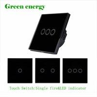 LED Black Crystal Glass Panel 110 250V 1 2 3 Gang 1 Way Panel Light Touch