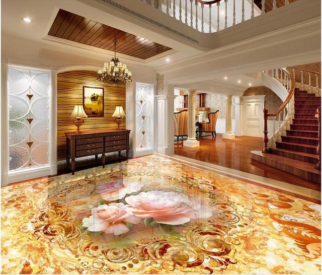 Benutzerdefinierte Boden Klebstoffe Romantischen Blumen Marmor 3D