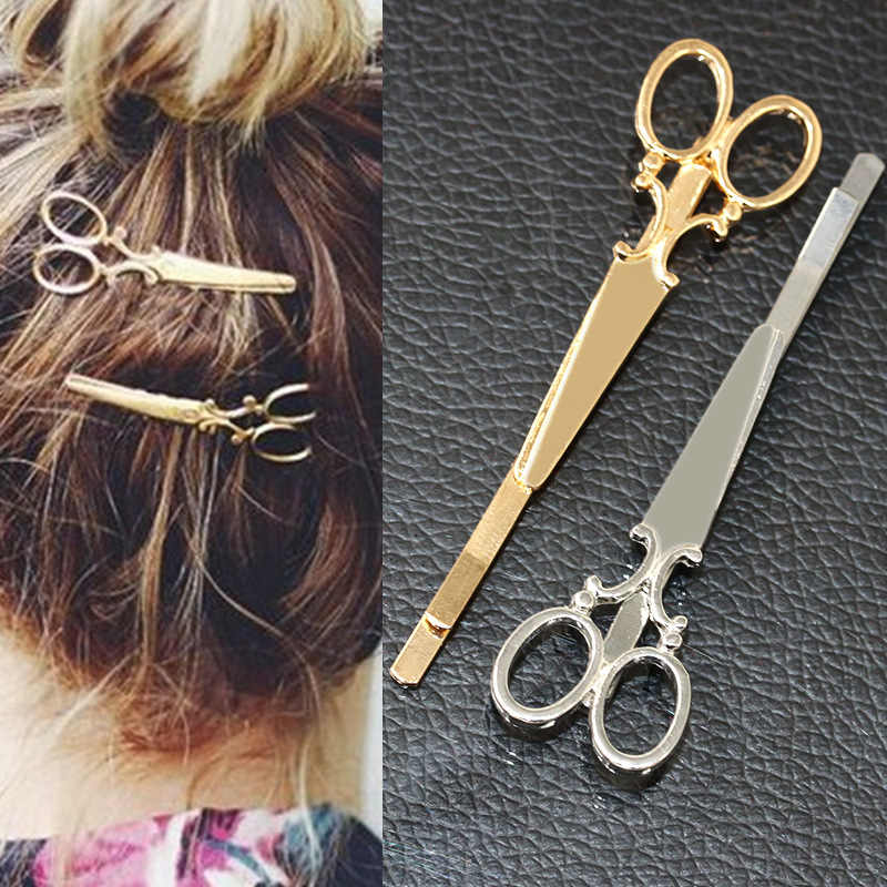 New Simple Head Jewelry Hair Pin Gold Scissors Shears Clip For Hair Tiara Barrettes Accessories Headdress For Girl Women