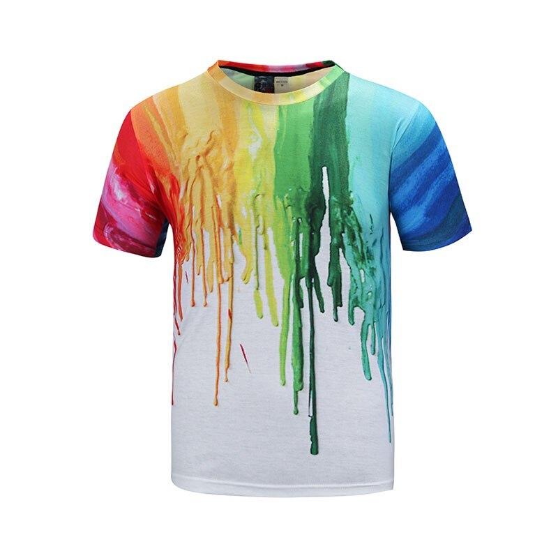 3D-s pólók férfiak / nők póló színekkel graffiti mindkét oldalra nyomtatva rövid ujjú nyakú póló hiphop felsők pólók