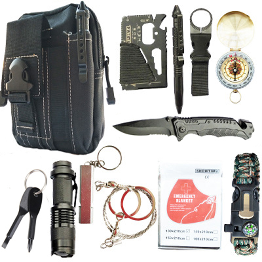 12/16 In 1 Survival Kit Outdoor Hiking Camping Travel Multifunction First Aid SOS EDC Emergency Supplies Tactical For Wilderness