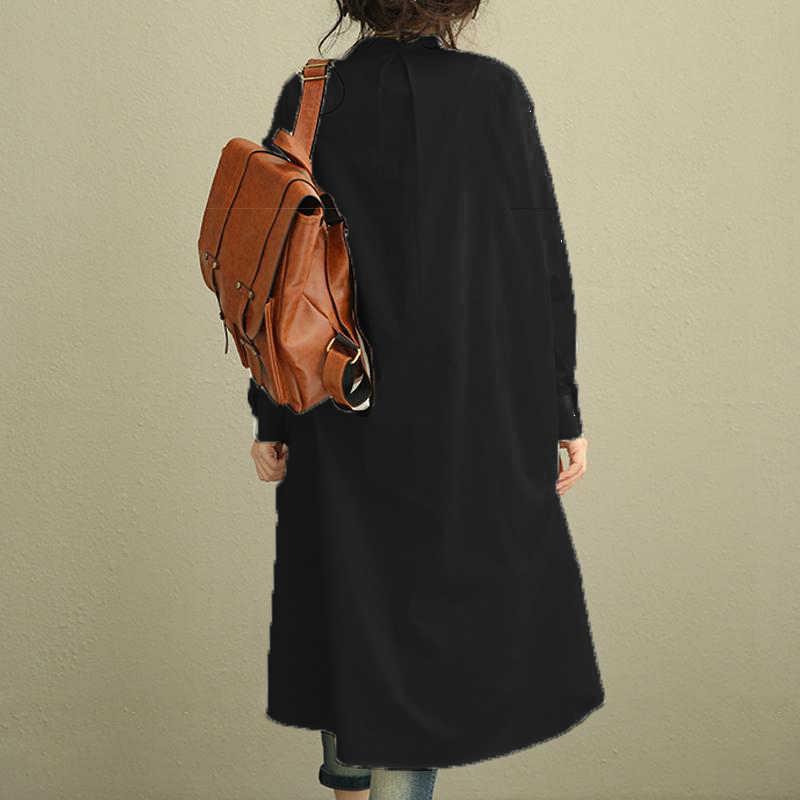 Женское однотонное черное свободное офисное платье-рубашка с длинными топами негабаритных ZANZEA женский асимметричный подол с разрезом стоячий воротник свитшоты Vestidos