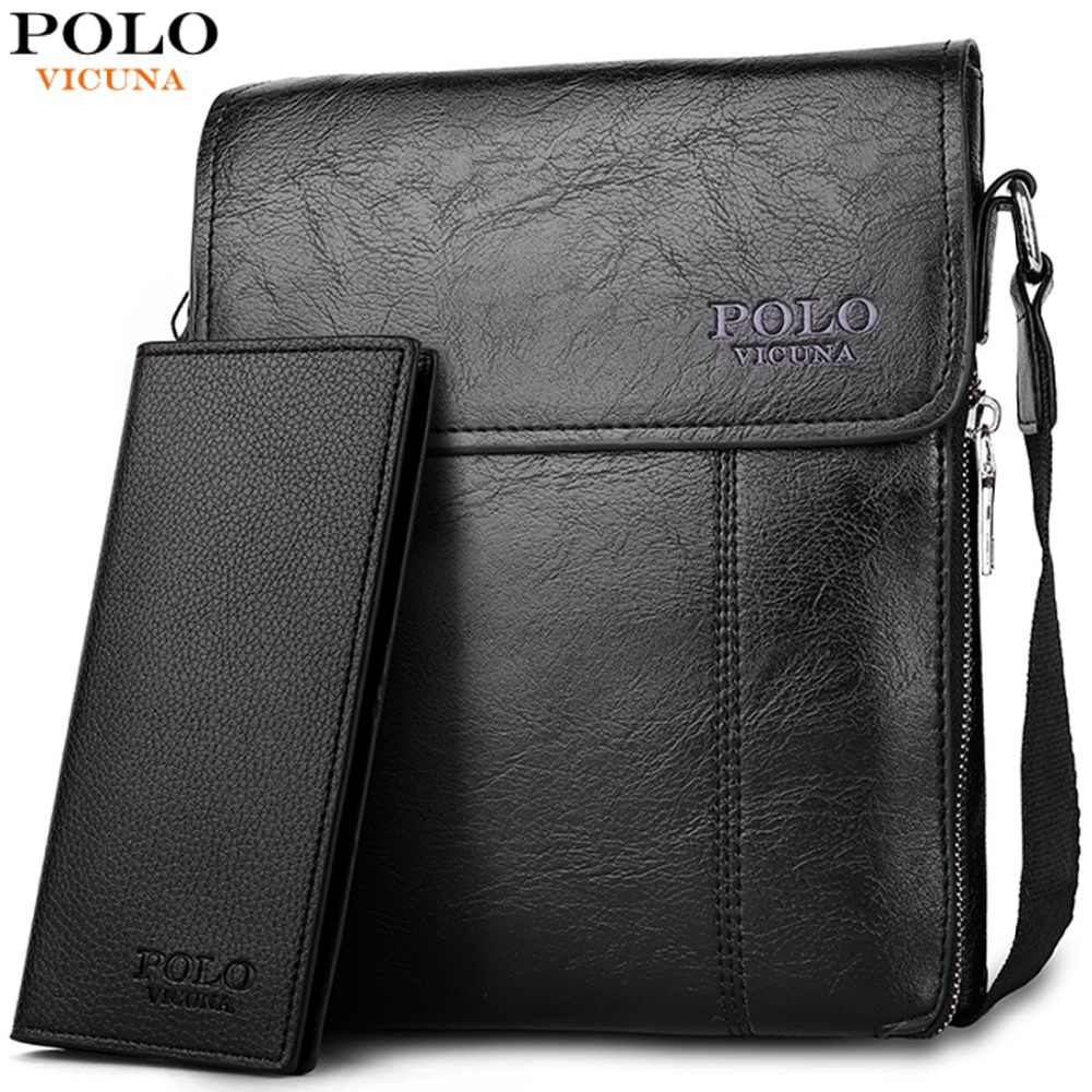 268ebeb88bfe VICUNA POLO Brand Business Men Shoulder Bag Promotion Casual Brand Man bag  Leather Messenger Bags Crossbody