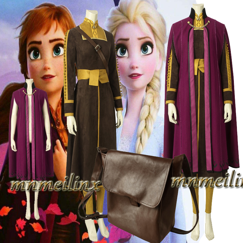 HOT Snow Queen Anna Elsa Princess Cosplay Costume Frozen 2 Fancy Dress Customize Halloween Suit Any Sizr for Unisex Pants Belt
