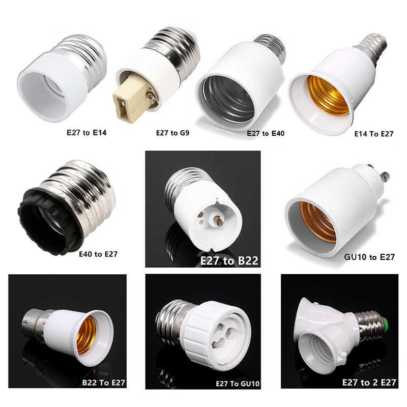G9 E27 E14 B22 Fitting Base Screw Sockets BC Holder Lamp Light Converter Round Edison Socket Adaptor White Bulb Extender ES