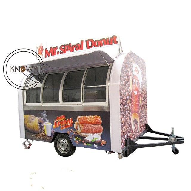 מדהים 2 גלגלים מזון משאית למכירה אירופה מהיר מזון קיוסק יד לדחוף נייד LA-37