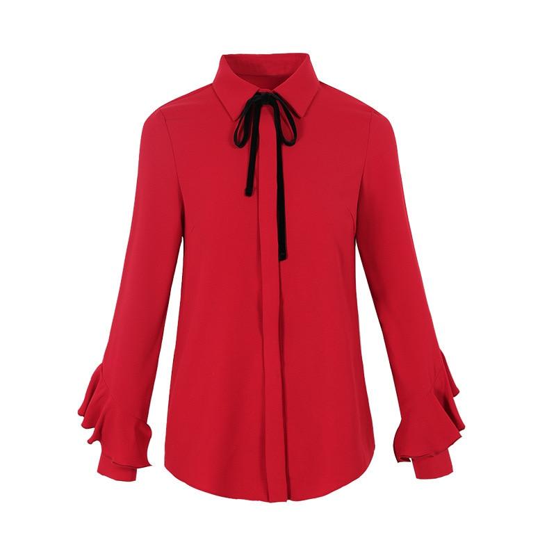 FINEWORDS 2018 Spring blusas Vintage Causal Red Chiffon Blouse Women Elegant Bowtie Tops Long Sleeve Business Plus Size Shirt