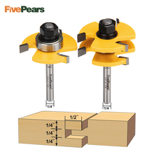 FivePears 2pc/set 1/4 6.35mm Shank Tongue And Groove Joint Assembly Router Bit Set 3/4 Stock Wood Cutting Tool set of 2 pieces 1 4 inch shank matched tongue and groove router bit set