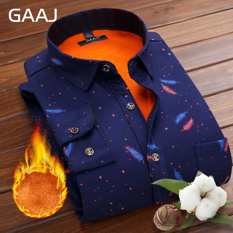 GAAJ мужские повседневные тонкие рубашки подходят для мужчин, осень, зима, толстый теплый флис с длинным рукавом, мужская рубашка, красное вино, синее, темно-синее, клетчатая полоса
