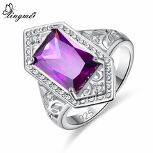 lingmei New Comes Rectangle Cut Purple & Red CZ Silver Color Ring Size 6 7 8 9 Women Bridal Wedding Engagement Fashion Jewelry