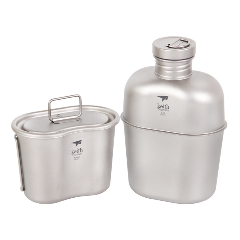 1800 ml titane tasse Pot dîner ensemble ultra-léger en plein air vaisselle kit voyage Camping Marching Pot eau bouilloire dîner boîte ustensiles de cuisine