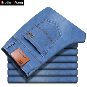Image 2 - Brother Wang Men Jeans Business Casual Light Blue Elastic Force Fashion Denim Jeans Trousers Male Brand Pants