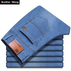Image 2 - Мужские джинсы Brother Wang, деловой Повседневный светильник, синие эластичные джинсы, модные джинсовые брюки, мужские Брендовые брюки
