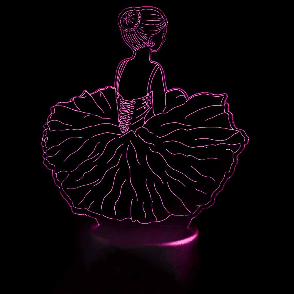 3D Led Visual Ballet Girls Modelling Night Lights Usb Dance Skirt Table Lamp Baby Sleep Light Fixture Bedroom Decor Kids Gifts