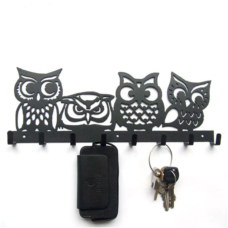 Metal Four Owl Iron Coat Rack Towel Hanging Hook Key Creative Black Brown Wall Decoration Clothes Holder valentine s day heart starlight print tapestry wall hanging decoration