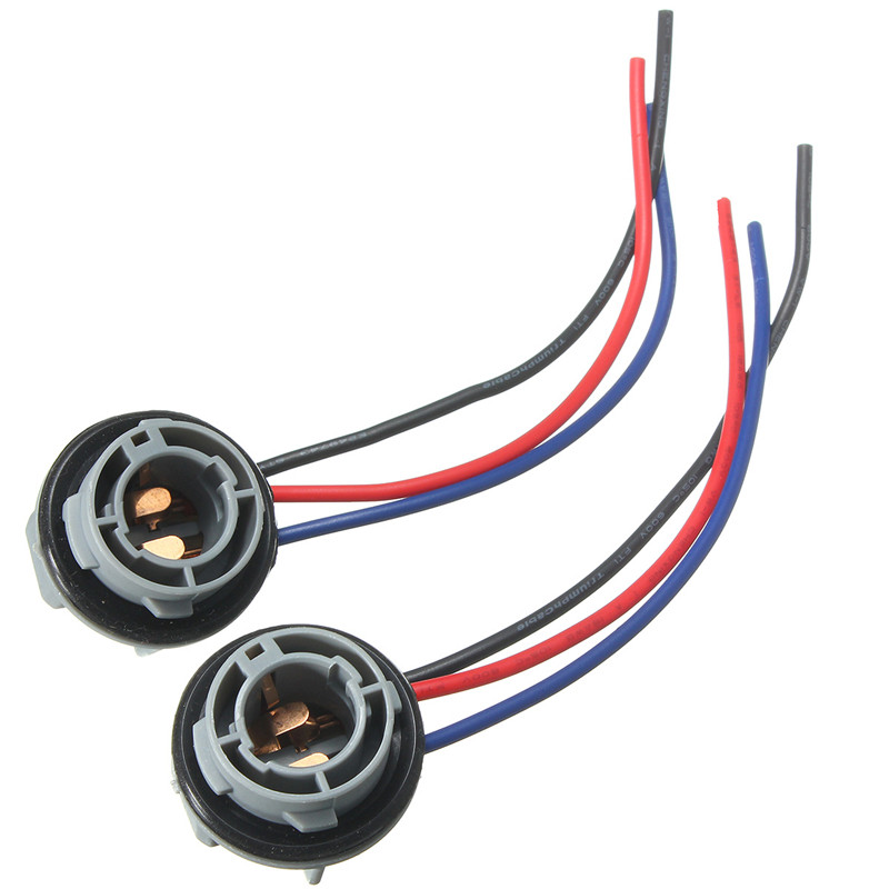 2PCS For Car Headlight Light Bulb 1157 2057 2357 BAY15D P21/4 10cm Car Lamp Socket Adapter Connector Harness Wiring