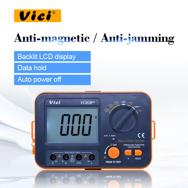 Vici VC60B + digital Resistenza di Isolamento tester del Tester Megaohmmetro Ohmmeter Voltmetro DVM 1000 v 2g w/LCD Retroilluminato