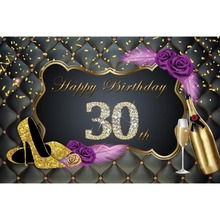 Laeacco Happy 30th Birthday Golden High Heels Celebration Ribbon Scenic Photo Backgrounds Photography Backdrops For Studio