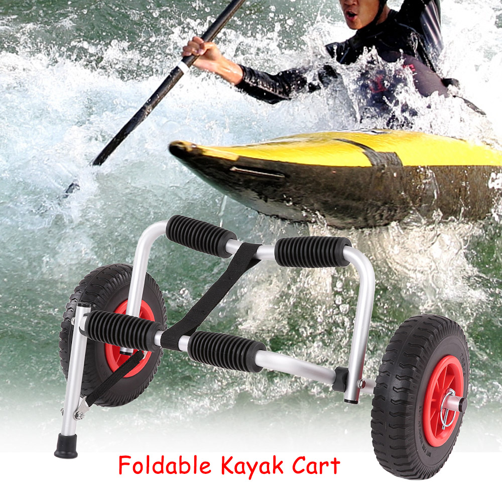Portable Lightweight Folding Boat Kayak Carrier Stably Support Canoe Trolley Transport Trailer Cart Removable Wheels Water Sport