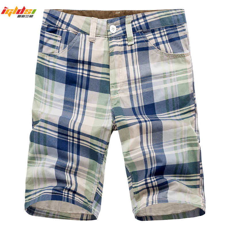 2018 New Summer Men's Beach Shorts Fashion High Quality Brand Plaid Shorts Cotton Male Pockets Casual Cargo Overalls Shorts