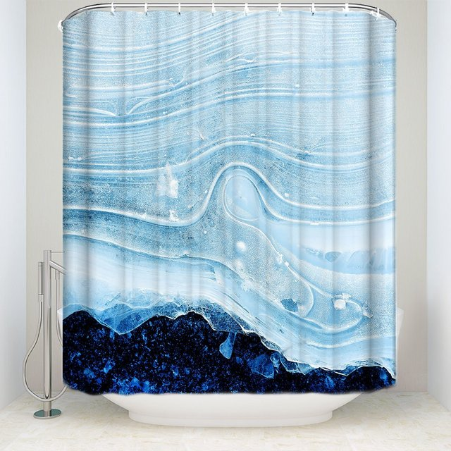 TH Home Arctic Ice Layer Shower Curtain Clear And Grand Bath Decor Bathroom Waterproof