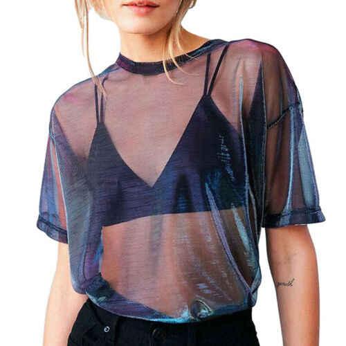 แฟชั่นผู้หญิงฤดูร้อนตาข่ายเสื้อยืดโปร่งใสสีม่วงแขนสั้น Sheer ตาข่ายเลเซอร์ Top