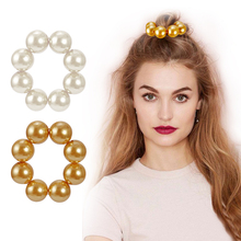 iMucci 1pc Big Pearls Elastic Hair Ring Hairband Rope Ponytail Holder Gold/ White Color