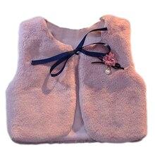Жилет для маленьких девочек; детские жилеты из искусственного меха с цветочным принтом; Детский Рождественский зимний жилет; теплое пальто; куртка для младенцев; Верхняя одежда для девочек