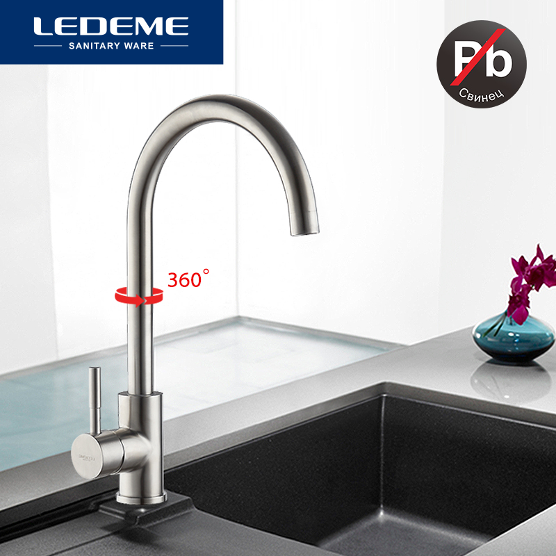 LEDEME Classic Kitchen Faucet Stainless Steel Brushed Process Swivel Basin Faucet 360 Degree Rotation Stainless Steel Faucet-in Kitchen Faucets from Home Improvement    1