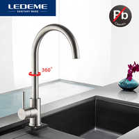 LEDEME Classic Kitchen Faucet Stainless Steel Brushed Process Swivel Basin Faucet 360 Degree Rotation Stainless Steel Faucet