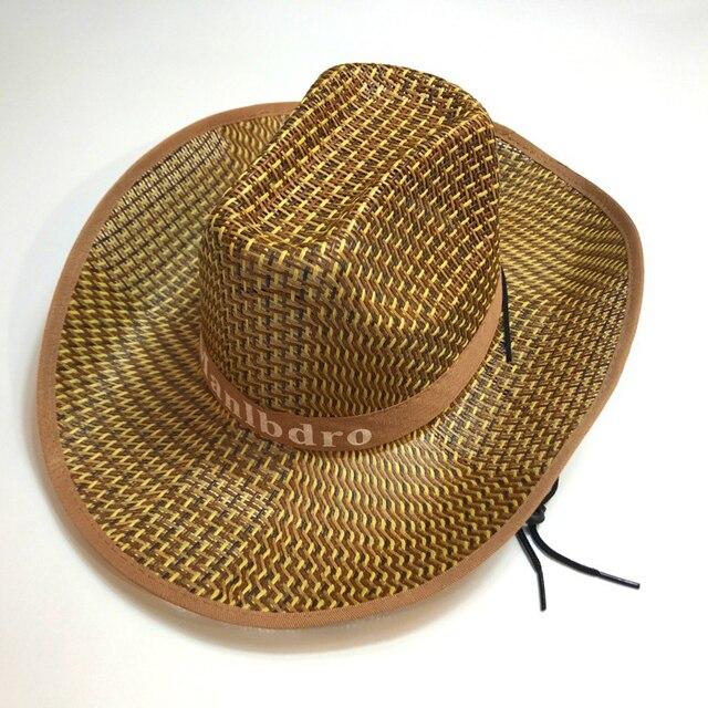 Zomer Brede Rand Stro Weven Hoed Casual Western Cowboy Hoeden Panama Cap Jazz Chapeau Outdoor Zonnehoed Tropenhelm voor Mannen Vrouwen unisex