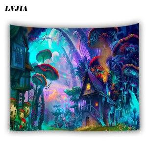 Image 1 - Tapiz de pared bohemio colgante Casa de hongo enorme fairyland psicodélico tapestriws decoración del hogar