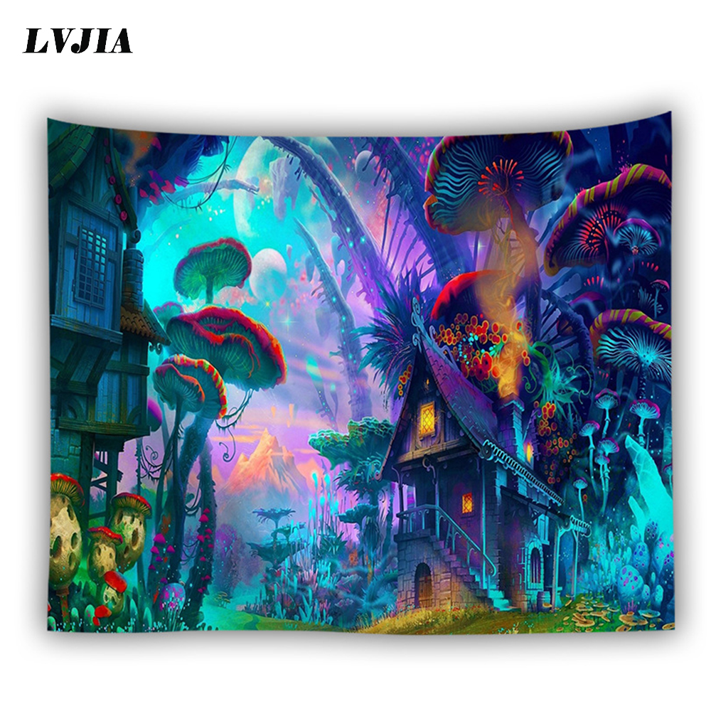 bohemian wall tapestry hanging huge mushroom house fairyland psychedelic tapestriws home decor-in Tapestry from Home & Garden