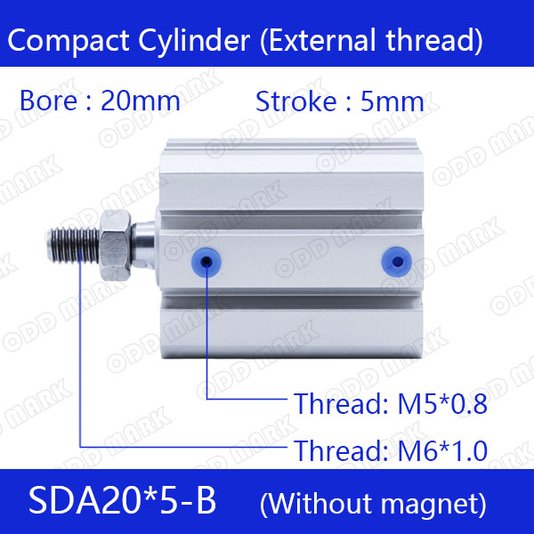SDA20*5-B Free shipping 20mm Bore 5mm Stroke External thread Compact Air Cylinders Dual Action Air Pneumatic Cylinder mxh20 5 smc air cylinder pneumatic component air tools mxh series with 20mm bore 5mm stroke mxh20 5 mxh20x5