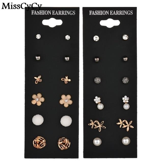 MissCyCy Fashion Accessories Stud Earring Pack Set 6 Pairs Pearl Rhinestone Owl Flowers Earrings For Women Brincos Gift