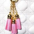 3 Golden Chains Leather Design Superfine Fiber 3 Tassel Keychains Fashion Ring Women Bag Charming Pendant CarKey