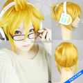 "SUNCOS Kagamine Rin /Len VOCALOID Short Golden Party Wig ,cosplay wig, Heat resistance fibre,30cm 12""cosplay wig  Free shipping"