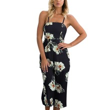 2017 Summer New Printing Harness Sexy Tube Top Piece Wide Leg Flower Sleeveless Jumpsuit