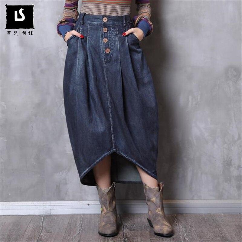 2018 Herbst Winter Frauen Röcke Damen Unregelmäßigen Wilden Jeans Rock Taste Denim Taschen Vintage Hohe Qualität Jean Lange Rock