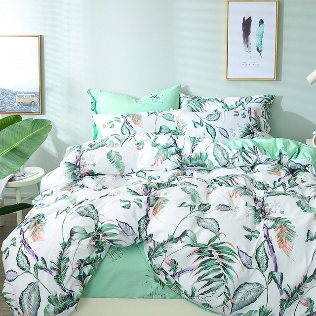 Tutubird White And Green Leaf Print Floral Bedding Set Leaves Tree