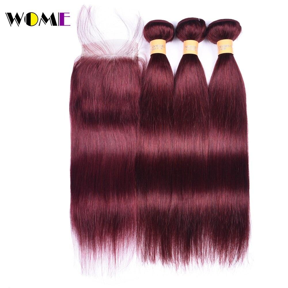 Wome Hair Pre-colored 3 Bundles Brazilian #99J Straight Hair Lace Frontal Closure 4x4 With Bundles Brazilian Human Hair Non Remy