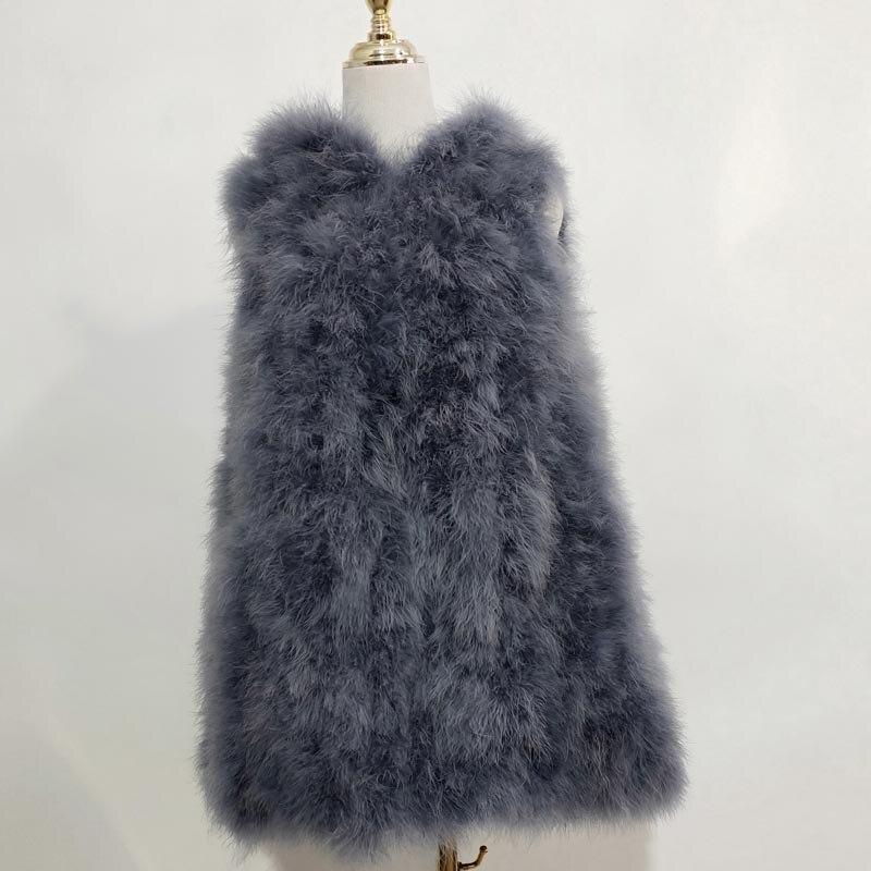 Новинка, жилет из страусиного волоса 70 см, длинная шапка, маленькая, свежая,, индейка, пуховая жилетка, натуральное меховое пальто, зашифрованное, ручное плетение - Цвет: as picture 12